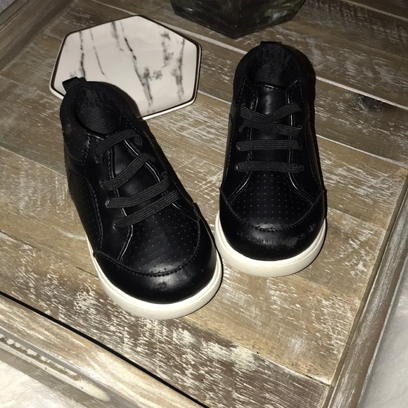 Toddlerbaby Boy Black Pleather Shoes